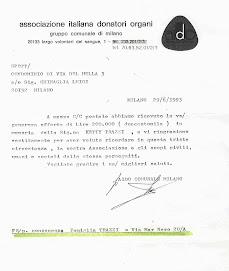 AIDO COMUNALE E DELEGAZ. di BAGGIO RINGRAZIANO .. ANCHE PER LA DONAZIONE DI PARECCHI.. SOLDI!