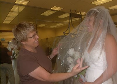 Mom fixing Abby's veil