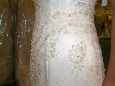 Lace and pearly waist detail