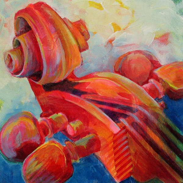painting of cello scroll