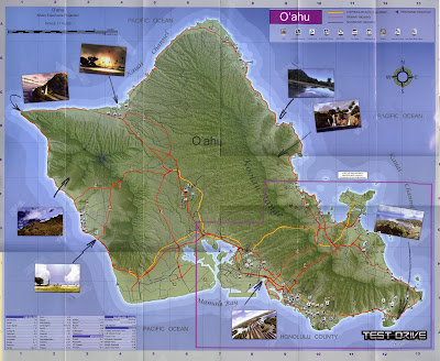 Test Drive Unlimited map of Oahu. As you can see they look stikingly