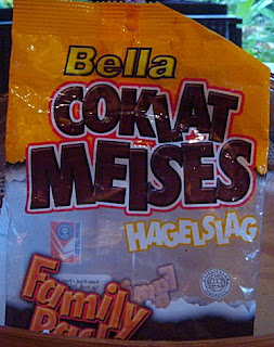 Coklat Meises (Muisjes of Hagelslag), gekocht in de Bintang Supermarkt in Ubud, Bali.