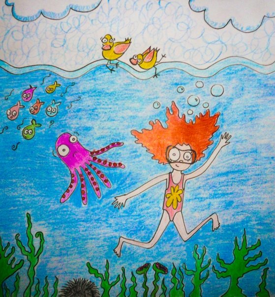 Dibujo niñita bajo el mar.