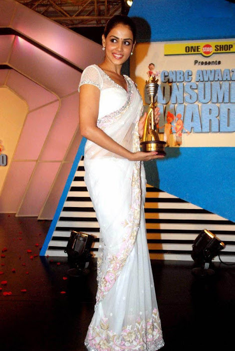 genelia spicy in white saree at cnbc awards hot photoshoot