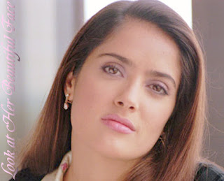 Salma Hayek Beautiful Face And Her Lovely Long Straight Hairstyle