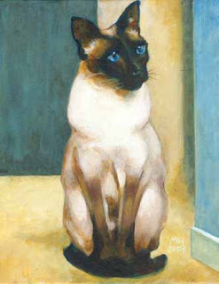 Painted Portrait of Whiskers, a Seal Point Siamese