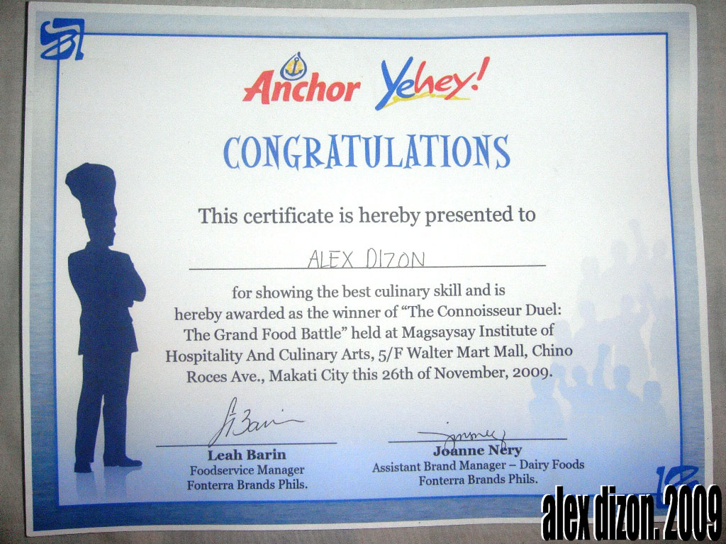Connoisseur duels the grand food battle recycle bin of a it was really unbelievable and we couldnt thank you enough anchor philippines magsaysay institute of culinary arts and hospitality and yehey for this 1betcityfo Images