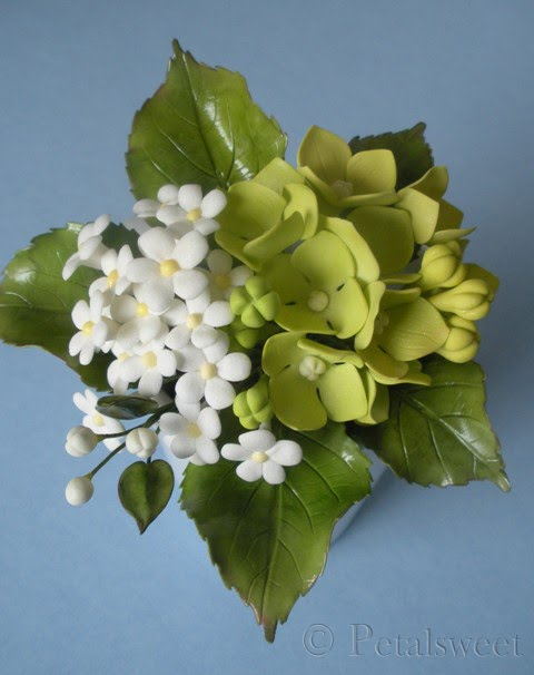 The petalsweet blog busy with sugar flowers more green hydrangea and white filler flowers mightylinksfo