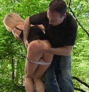 erotic spanking, otk, pink panties, police officer, spanked outdoors