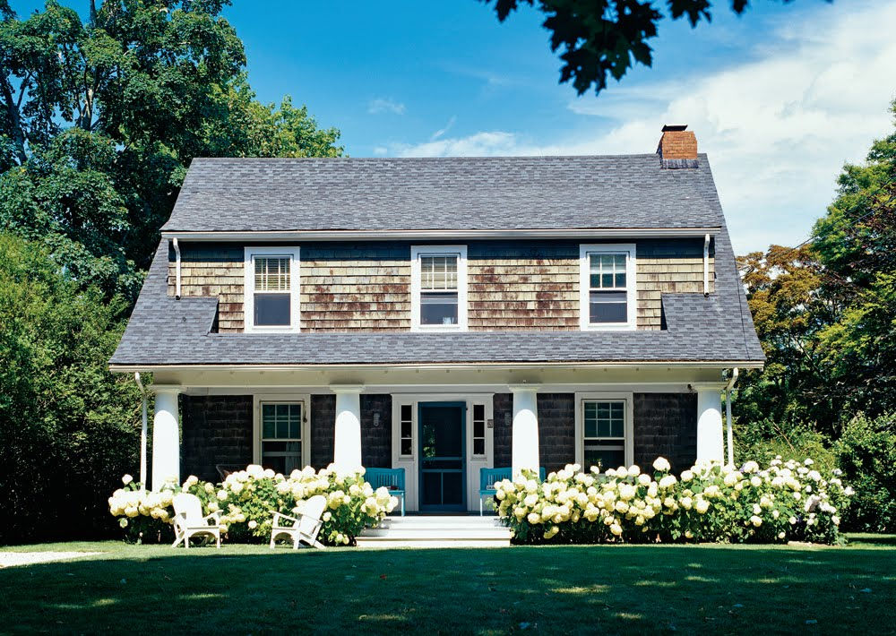 The newlywed diaries hydrangea cedar shingles perfection for Shingle style cottage