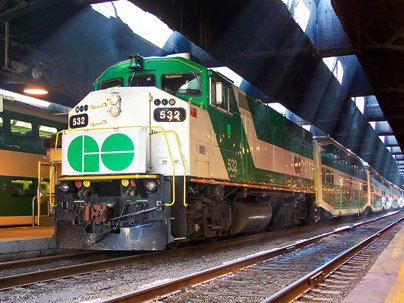 GO Train Arriving at Union Station