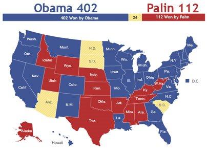 Obama Palin 2012 Electoral Map