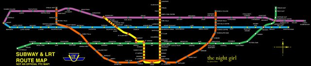 TTC Subway and LRT Fantasy Map