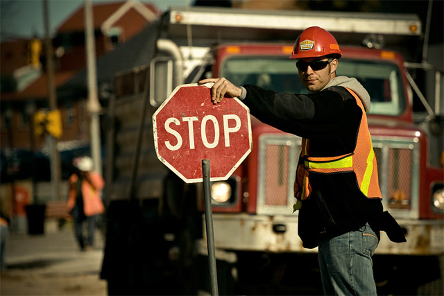 Construction Worker Stop Sign