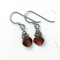 earrings artisan garnet citrine pearls red yellow teal