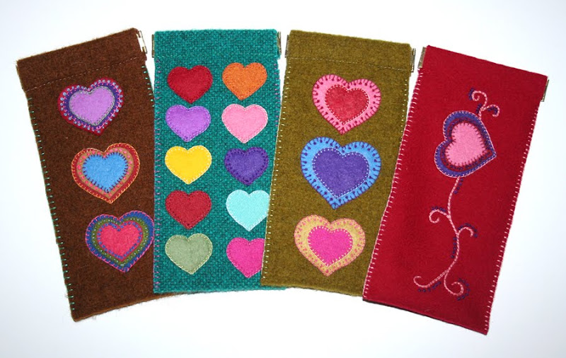 assorted felt eyeglass cases with heart motifs