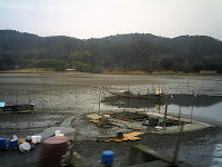 水の抜かれた広沢の池