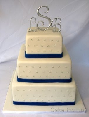 Cake Fiction: Blue, Silver and White Theme Wedding Cake