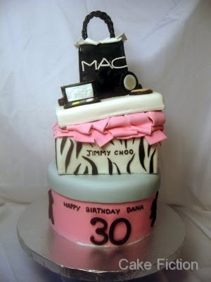 Cake Fiction: MAC bag cake with Jimmy Choo shoebox