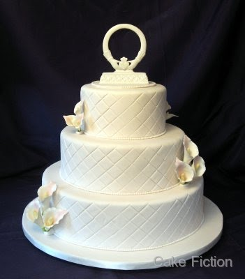 Our bride chose a round three tier chocolate almond cake with amaretto