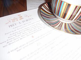Pret a Portea menu