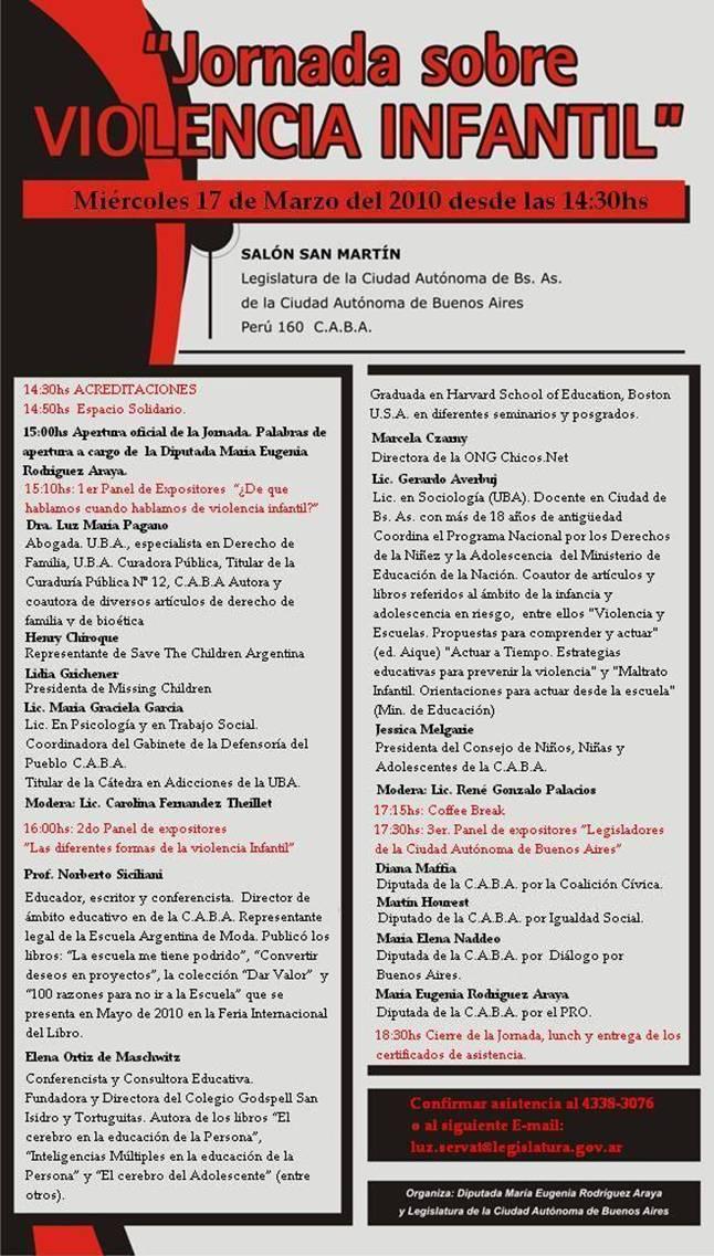 Jornada Sobre Violencia Infantil en la Legislatura, agradecemos su Invitación. 17/Marzo/2010