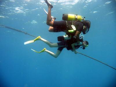 Premiers mètres sous l'eau pour Sophie
