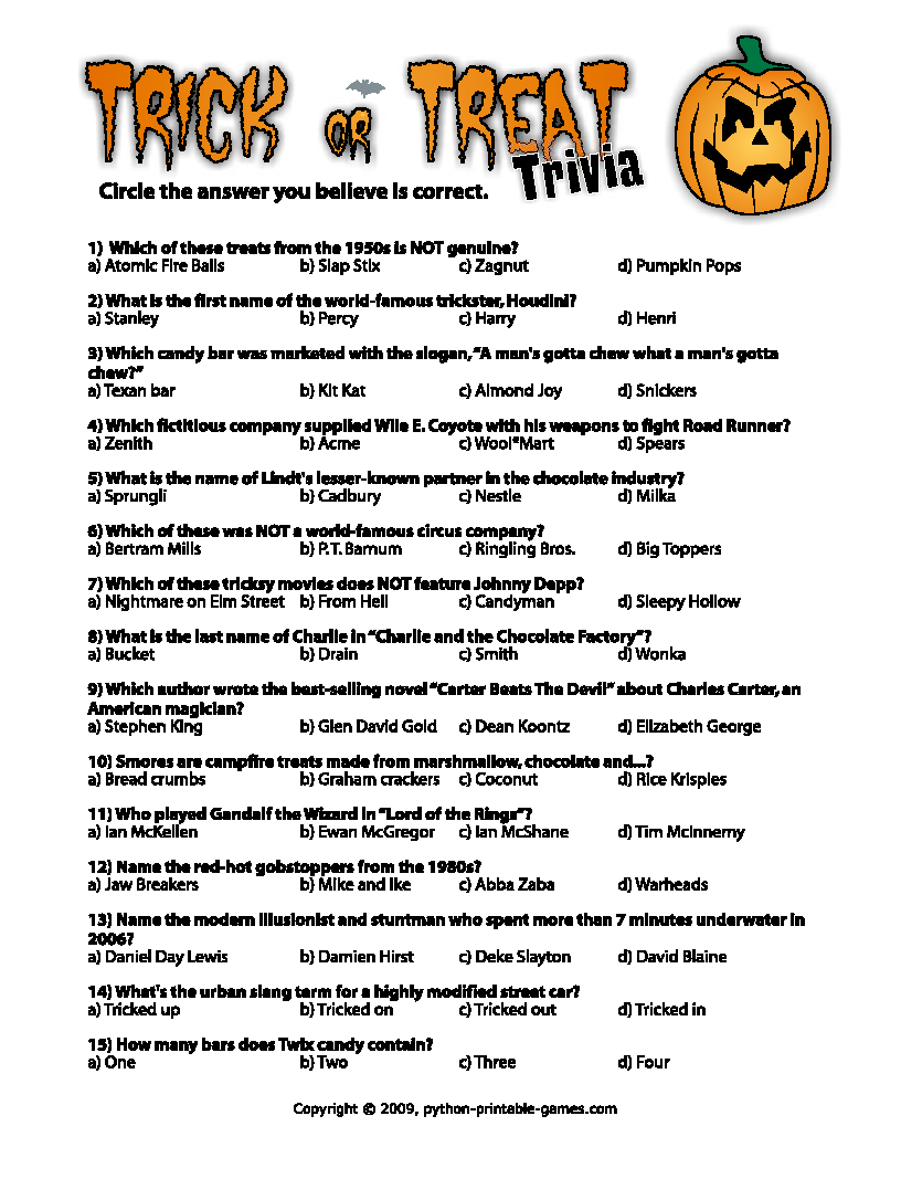 free printable halloween trivia games pages