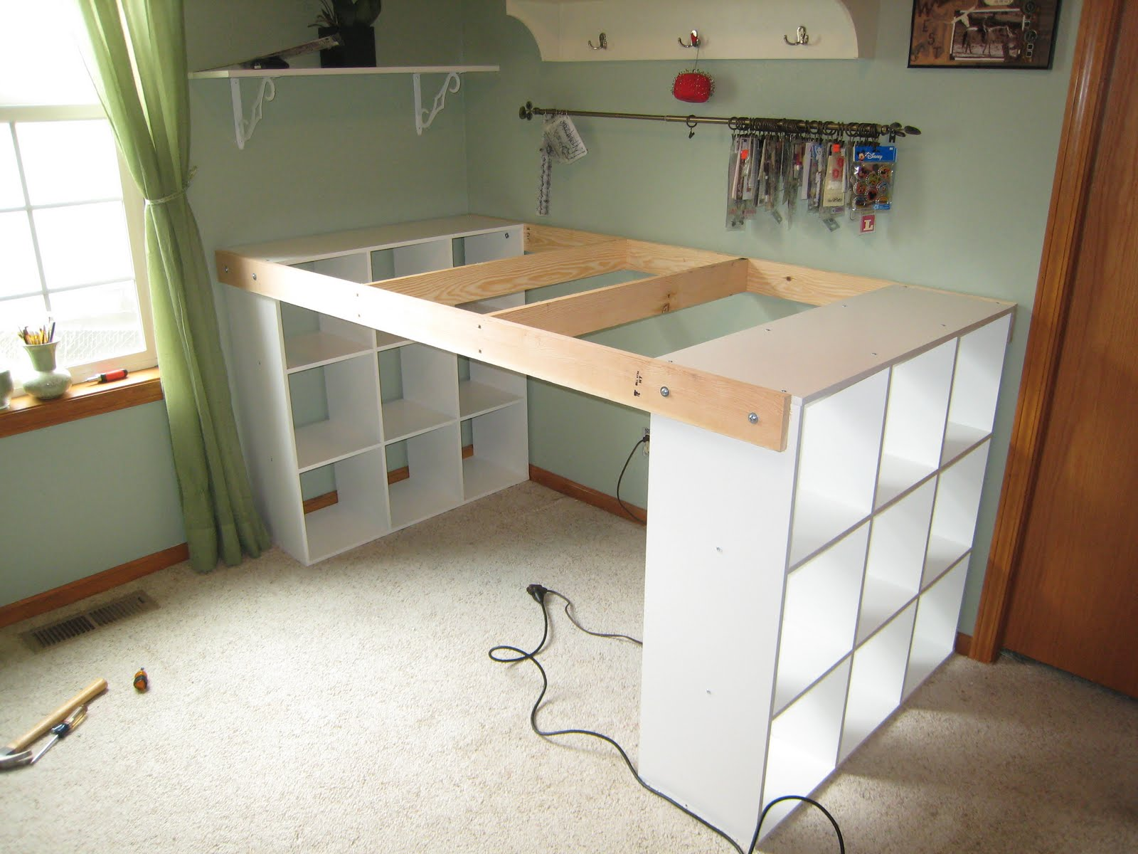 Do it yourself white craft desk how to build a custom craft desk - Mobilier bureau ikea ...