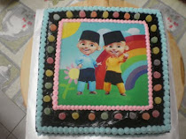 Upin Ipin + gummies chocolate cake