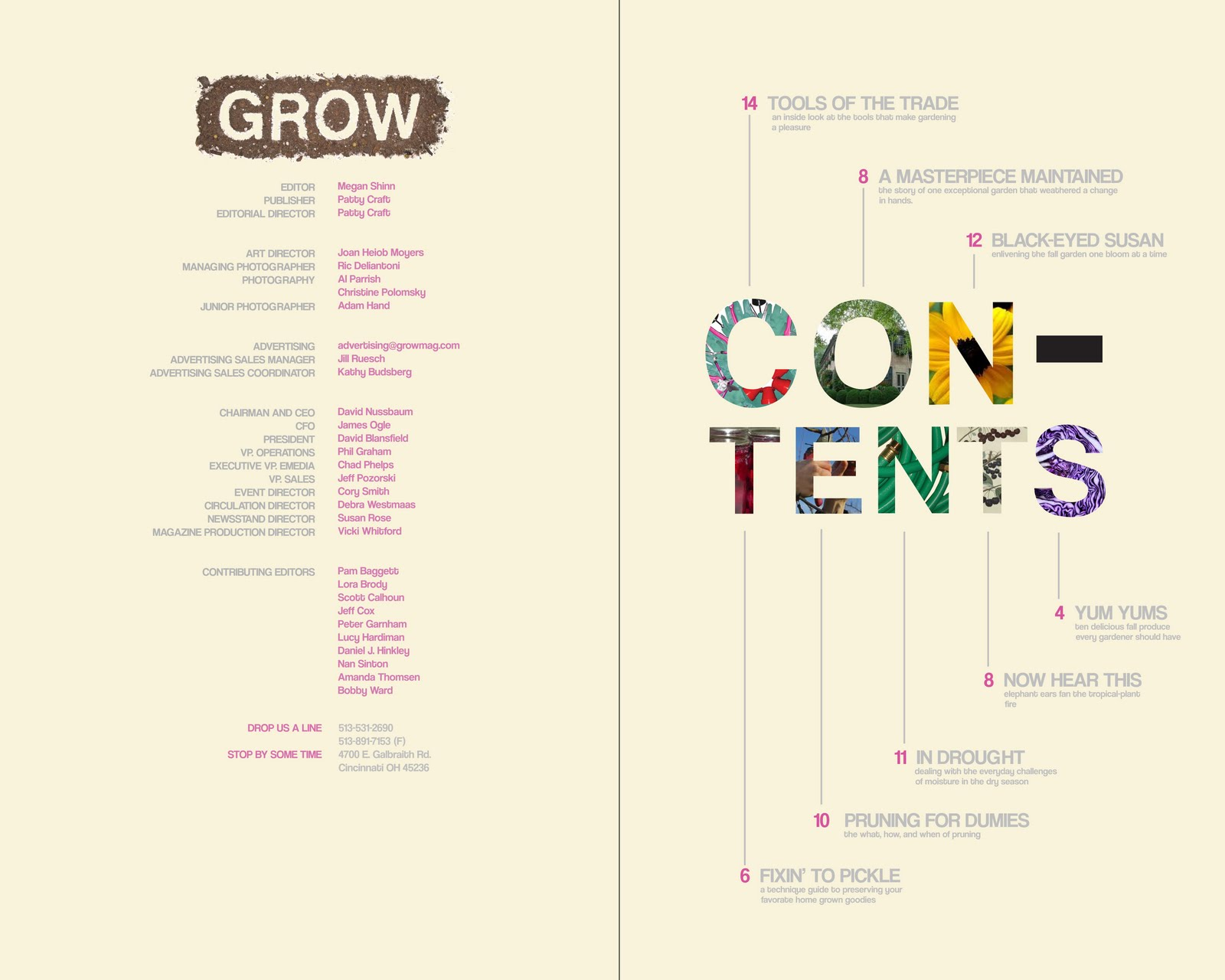 Toni rogers grow magazine table of contents for Table of contents