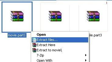 combine movie part1.rar, part2.rar using winrar
