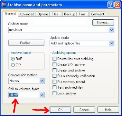 how to split a big file using winrar