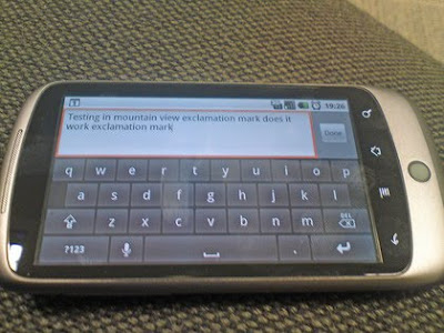 Nexus One Text message feature with touch screen keyboard