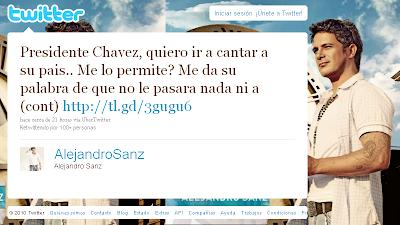 Alejandro Sanz pide permiso a Chávez para actuar en Venezuela