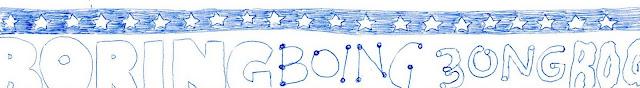 pen-drawn doodle that says, 'boring boing bong bog'