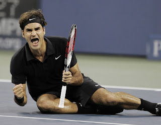 Roger Federer screams in triumph