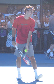 Roger Federer practising in Melbourne