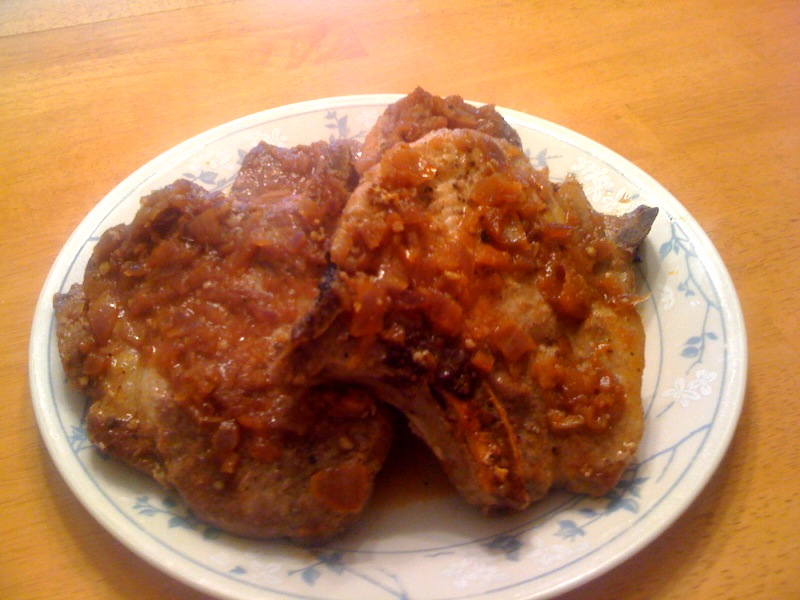 ... What's for Dinner?!....: Pork Chops in a Sweet Chili and Onion Sauce