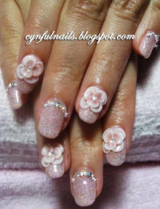 Cynful Nails: Bridal nails... with roses.