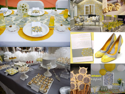 grey yellow party collage