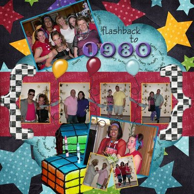 80s party digital scrapbook page