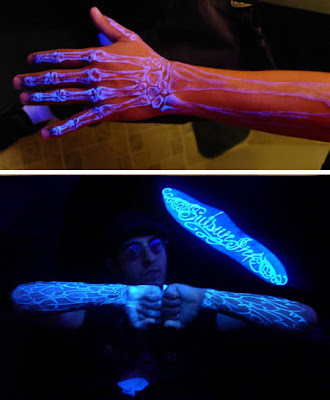 Fluorescent tattoo ink, sometimes referred to as UV ink or black light ink,