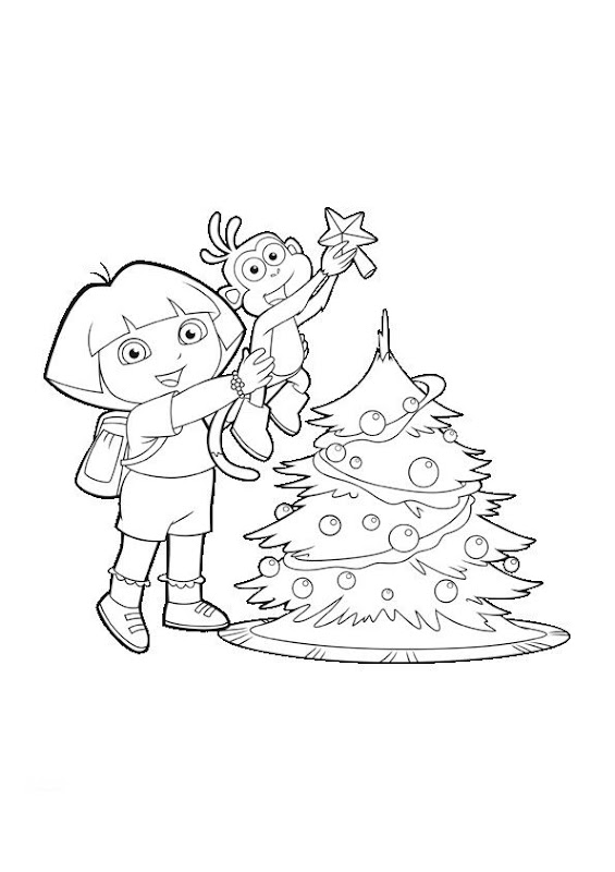 Dora Christmas Coloring Pages, Dora and Boots Xmas Printables title=