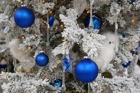blue christmas balls on white background