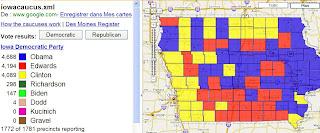 primaires dans l'iowa visibles sur google maps
