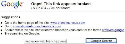 barre outils google et erreurs 404