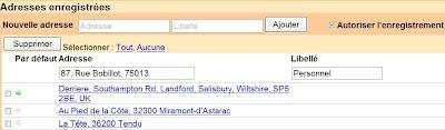 adresses enregistrees dans google maps