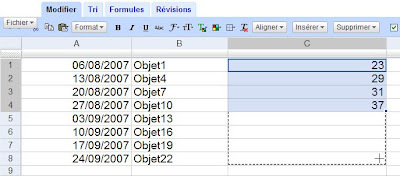 recopie incrementee dans google tableur