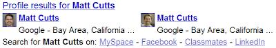 Une OneBox Google Profiles